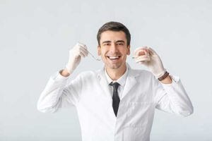 doctor shows off orthodontics